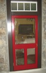 left-hand screen door with red paint